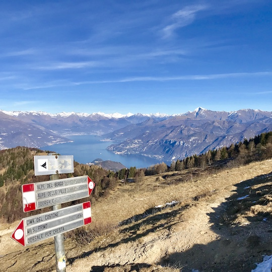 Mountain path with gorgeous view of Bellagio and Lake Como