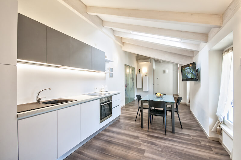 mdoern holiday apartment with equipped kitchen and TV