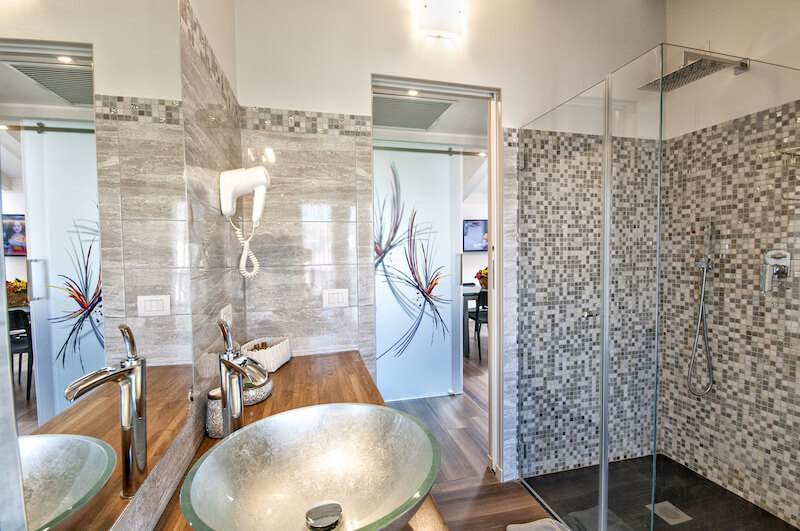 modern bathroom with walk in shower