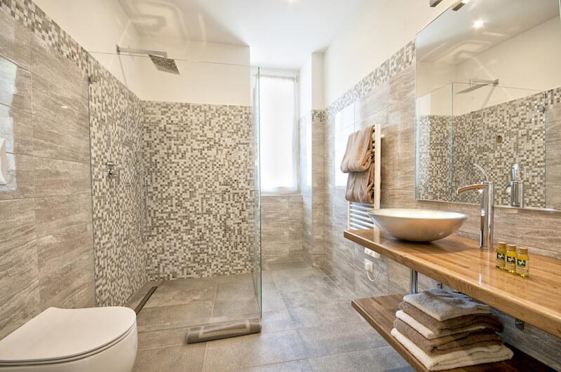 modern bathroom with walk-in shower