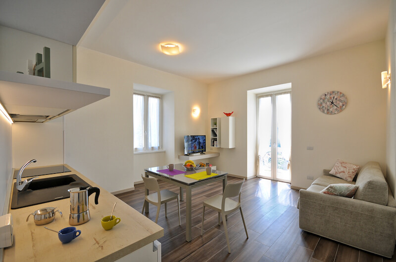 modern apartment with equipped kitchen, sofa bed and access to