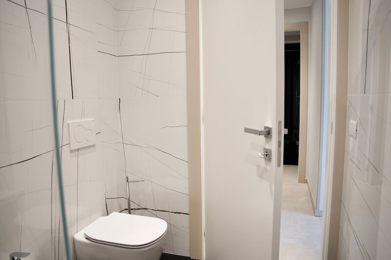 Bathroom with white walls