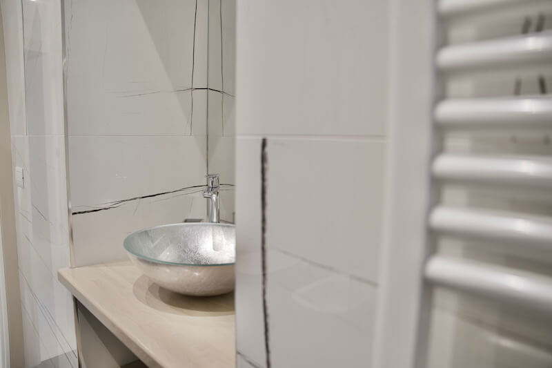 modern bathroom with round sink